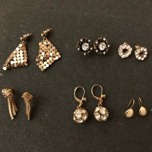 Vintage earrings set of (6) gold tone